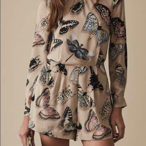 NWT Reiss Butterfly Printed Romper with Tie Neck